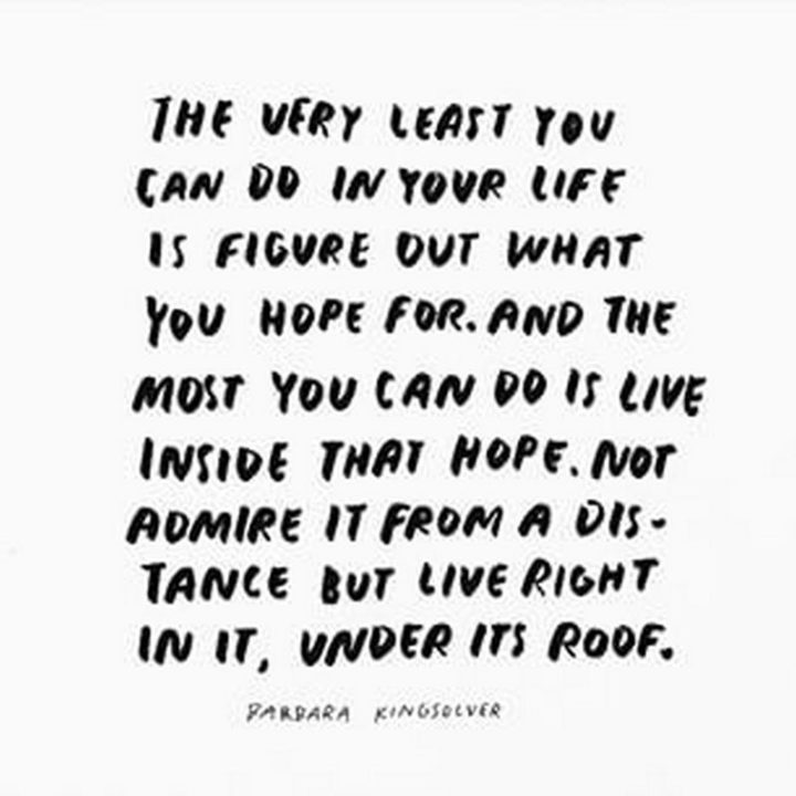 """39 Hope Quotes - """"The very least you can do in your life is figure out what you hope for. And the most you can do is live inside that hope. Not admire it from a distance but live right in it, under its roof."""" - Barbara Kingsolver"""