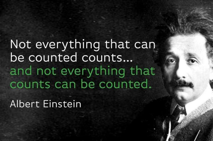 "59 Positive Memes - ""Not everything that can be counted counts...and not everything that counts can be counted."" - Albert Einstein"