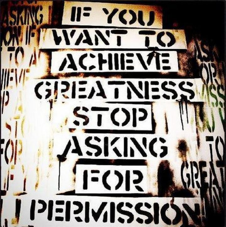 "59 Positive Memes - ""If you want to achieve greatness, stop asking for permission."""