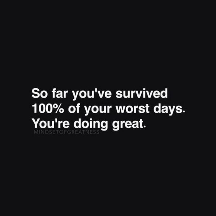 "59 Positive Memes - ""So far you've survived 100% of your worst days. You're doing great."""