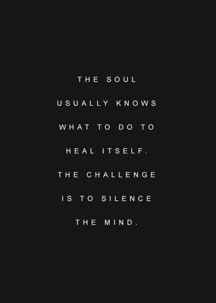 "59 Positive Memes - ""The soul usually knows what to do to heal itself. The challenge is to silence the mind."""