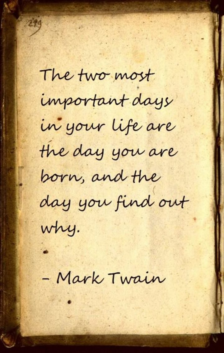 "59 Positive Memes - ""The two most important days in your life are the day you are born, and the day you find out why."" - Mark Twain"