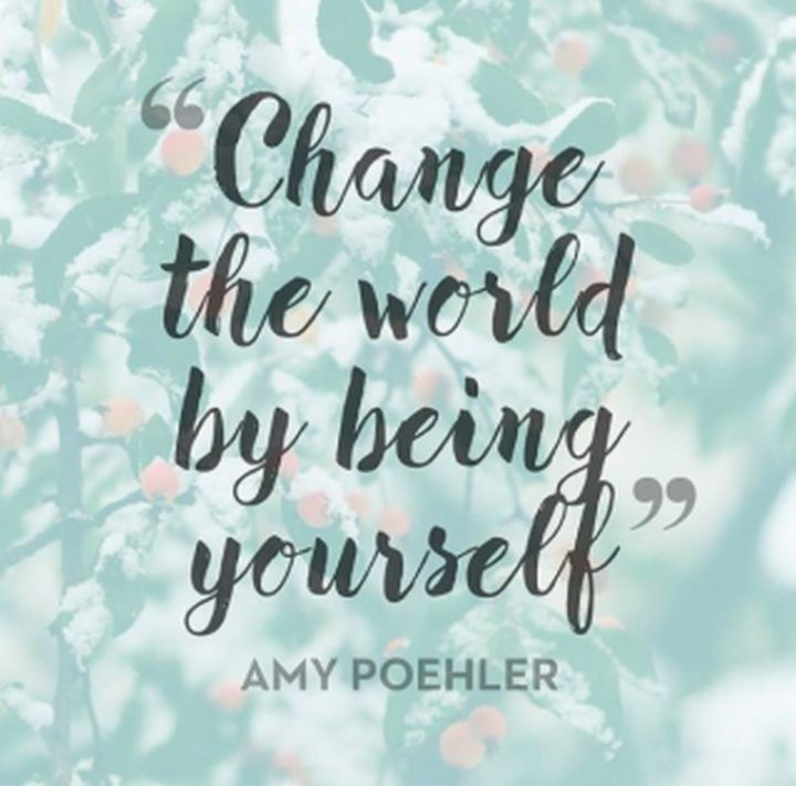 "75 Short Quotes - ""Change the world by being yourself."" - Amy Poehler"