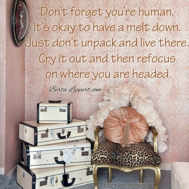 "75 Short Quotes - ""Don't forget you're human. It's okay to have a meltdown. Just don't unpack and live there. Cry it out. Then refocus on where you're headed."" - Unknown"
