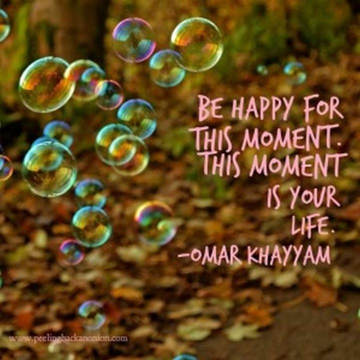 "75 Short Quotes - ""Be happy for this moment. This moment is your life."" - Omar Khayyam"