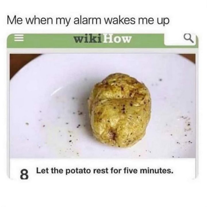 """""""Me when my alarm wakes me up: Let the potato rest for five minutes."""""""