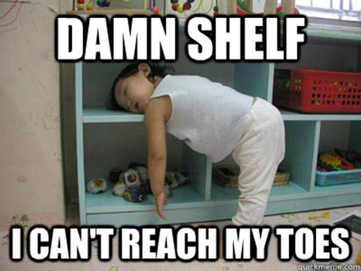 """Damn shelf. I can't reach my toes."""