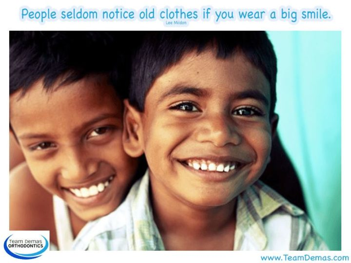 """55 Smile Quotes - """"People seldom notice old clothes if you wear a big smile."""" - Lee Mildon"""