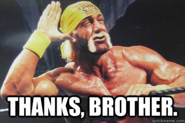 "101 Thank You Memes - ""Hulk Hogan: Thanks, brother."""