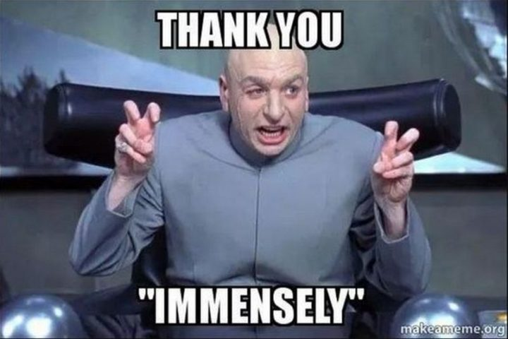 """101 Thank You Memes - """"Dr. Evil: Thank you 'immensely'."""""""