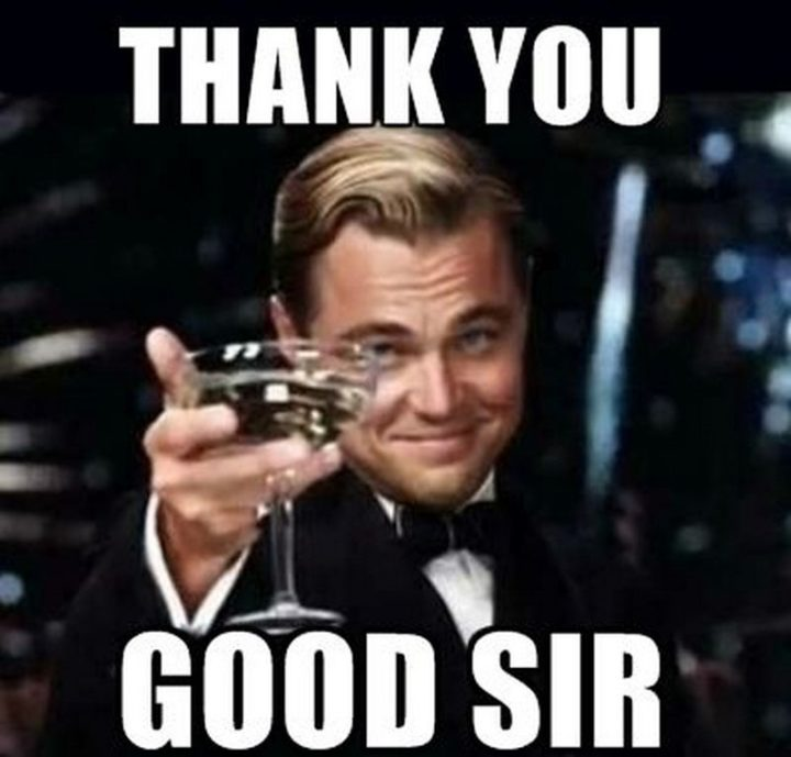 "101 Thank You Memes - ""Leonardo DiCaprio: Thank you, good sir."""