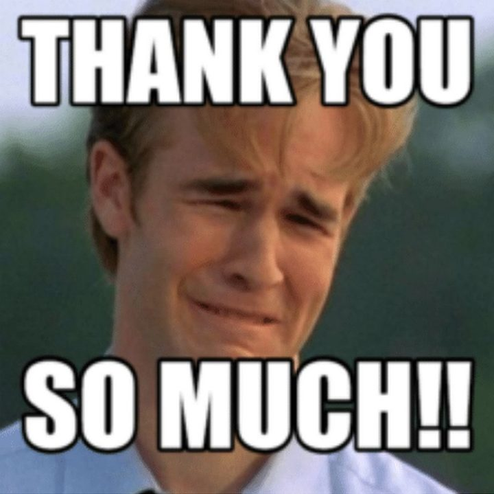 "101 Thank You Memes - "" James Van Der Beek: Thank you so much!!"""