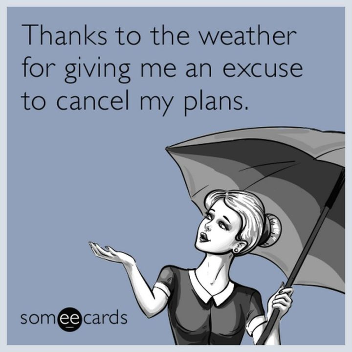 """101 Thank You Memes - """"Thanks to the weather for giving me an excuse to cancel my plans."""""""