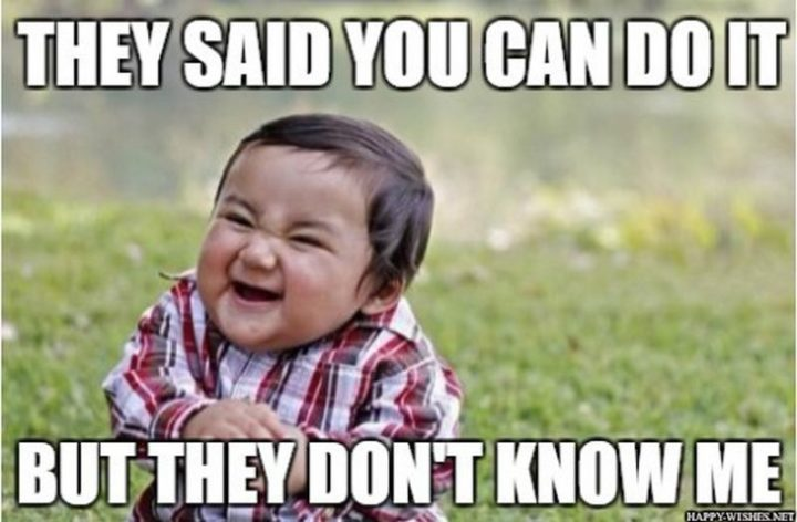 "101 You Can Do It Memes - ""They said you can do it but they don't know me."""