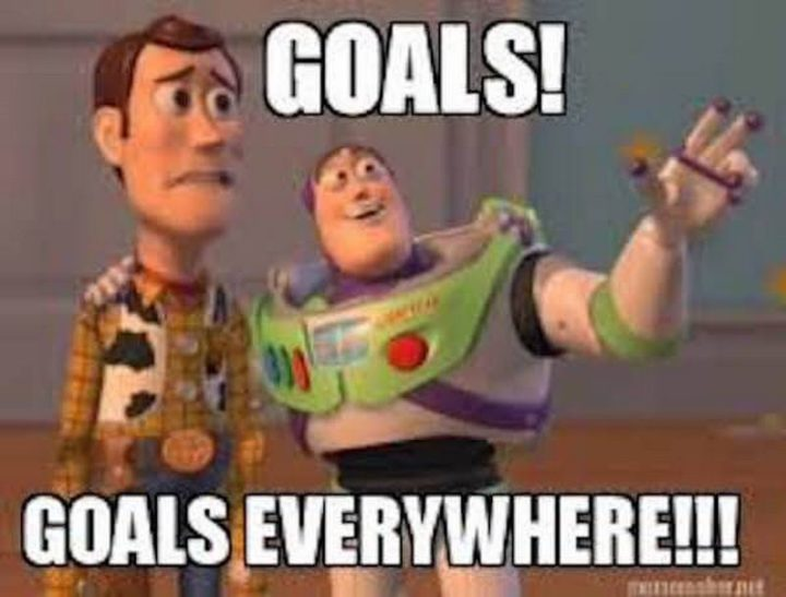 "101 You Can Do It Memes - ""Goals! Goals everywhere!!!"""