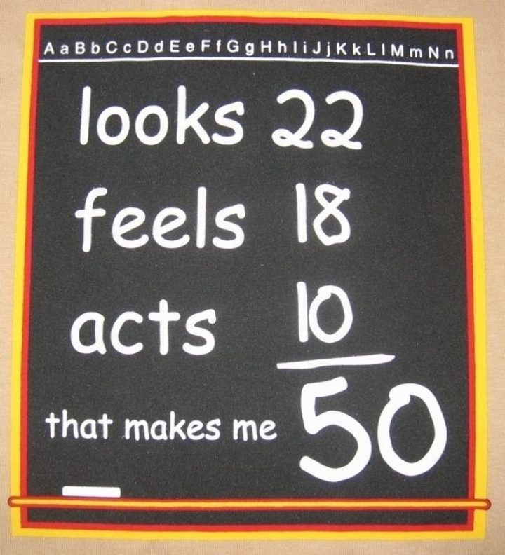 "101 Happy 50th Birthday Memes - ""Looks 22. Feels 18. Acts 10. That makes me 50."""