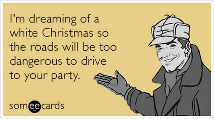 """87 Christmas Memes - """"I'm dreaming of a white Christmas so the roads will be too dangerous to drive to your party."""""""