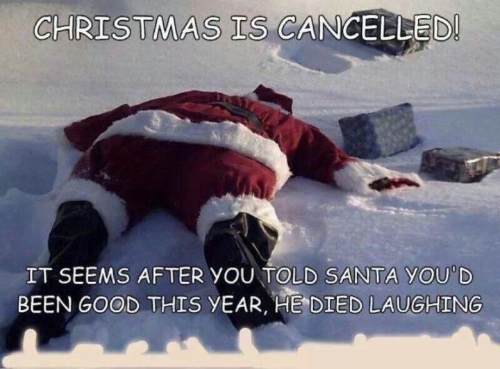 """87 Christmas Memes - """"Christmas is canceled! It seems after you told Santa you'd been good this year, he died laughing."""""""
