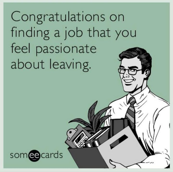 "71 Congratulations Memes - ""Congratulations on finding a job that you feel passionate about leaving."""
