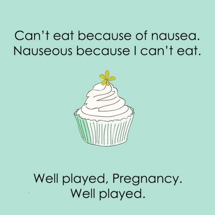 "71 Pregnancy Memes - ""Can't eat because of nausea. Nauseous because I can't eat. Well played, pregnancy. Well played."""