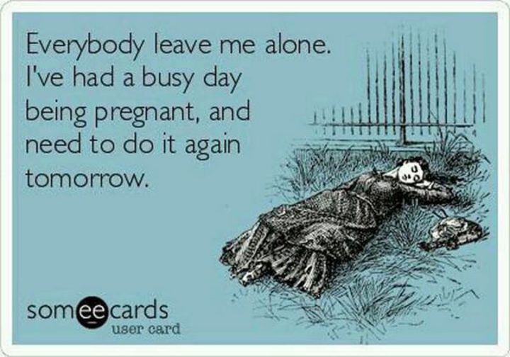"71 Pregnancy Memes - ""Everybody, leave me alone. I've had a busy day being pregnant, and need to do it again tomorrow."""
