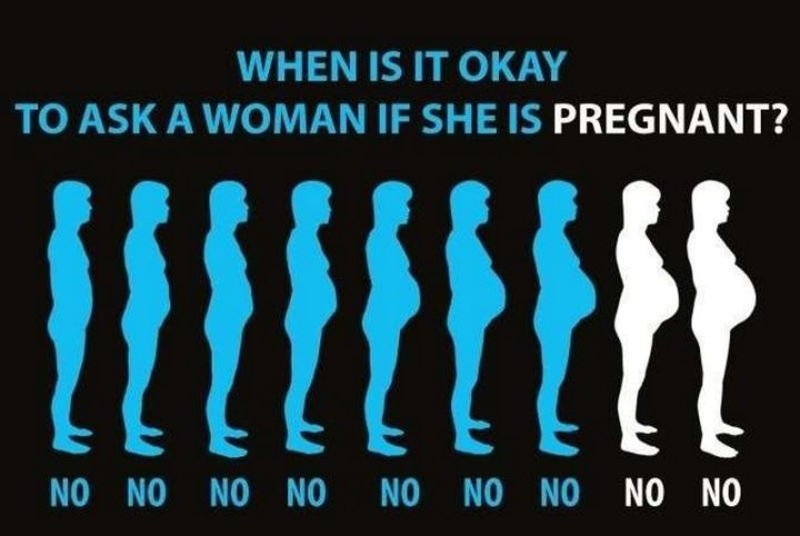 "71 Pregnancy Memes - ""When is it okay to ask a woman if she is pregnant? Answer: It's never okay."""