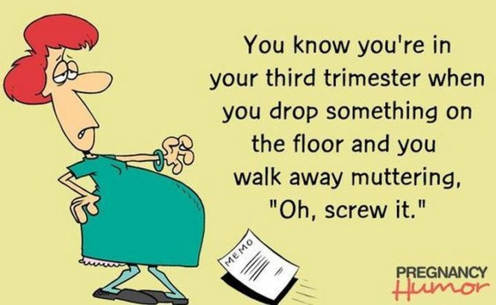 "71 Pregnancy Memes - ""You know you're in your third trimester when you drop something on the floor and you walk away muttering, 'Oh, screw it.'"""