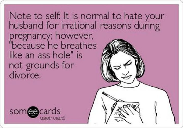 "71 Pregnancy Memes - ""Note to self: It is normal to hate your husband for irrational reasons during pregnancy; however, 'because he breathes like an @$$ hole' is not grounds for divorce."""