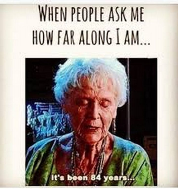 "71 Pregnancy Memes - ""When people ask me how far along I am...It's been 84 years..."""