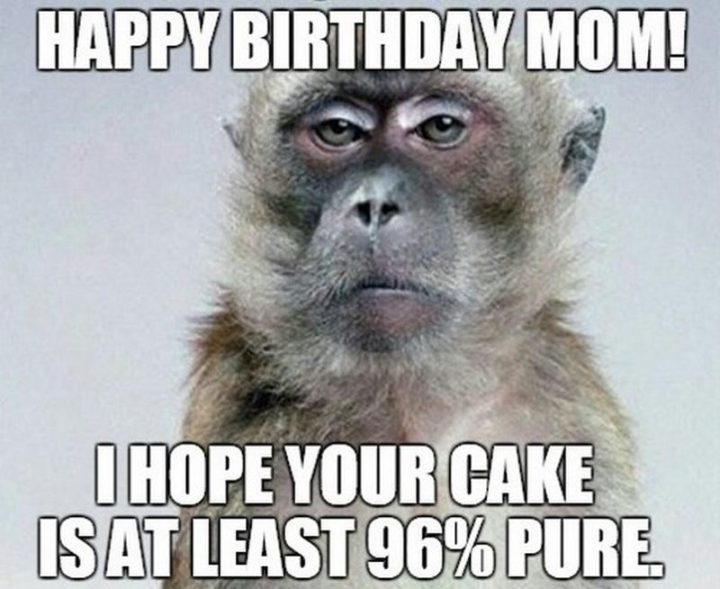 "101 Happy Birthday Mom Memes - ""Happy birthday mom! I hope your cake is at least 96% pure."""