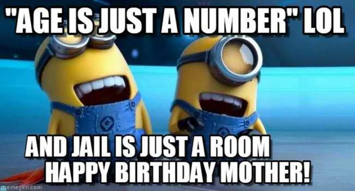 "101 Happy Birthday Mom Memes - ""'Age is just a number' LOL and jail is just a room. Happy birthday, mother!"""