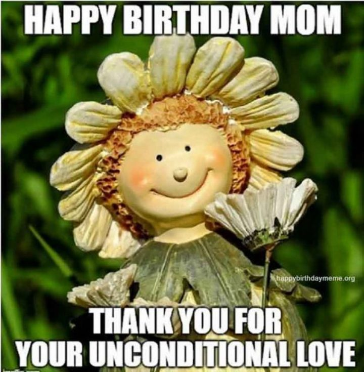 "101 Happy Birthday Mom Memes - ""Happy birthday mom. Thank you for your unconditional love."""