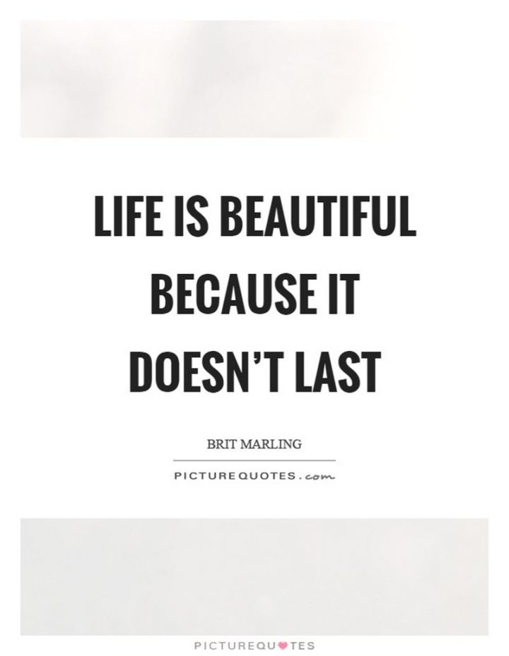"""47 """"Life is Beautiful"""" Quotes - """"Life is beautiful because it doesn't last."""" - Brit Marling"""