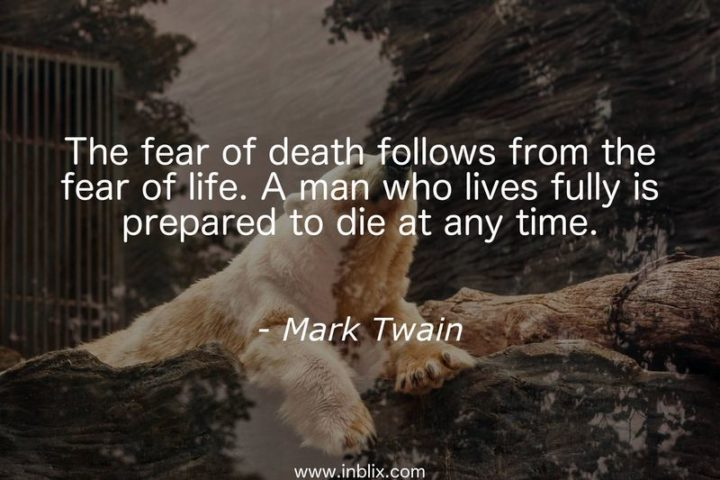 """47 """"Life is Beautiful"""" Quotes - """"The fear of death follows from the fear of life. A man who lives fully is prepared to die at any time."""" - Mark Twain"""