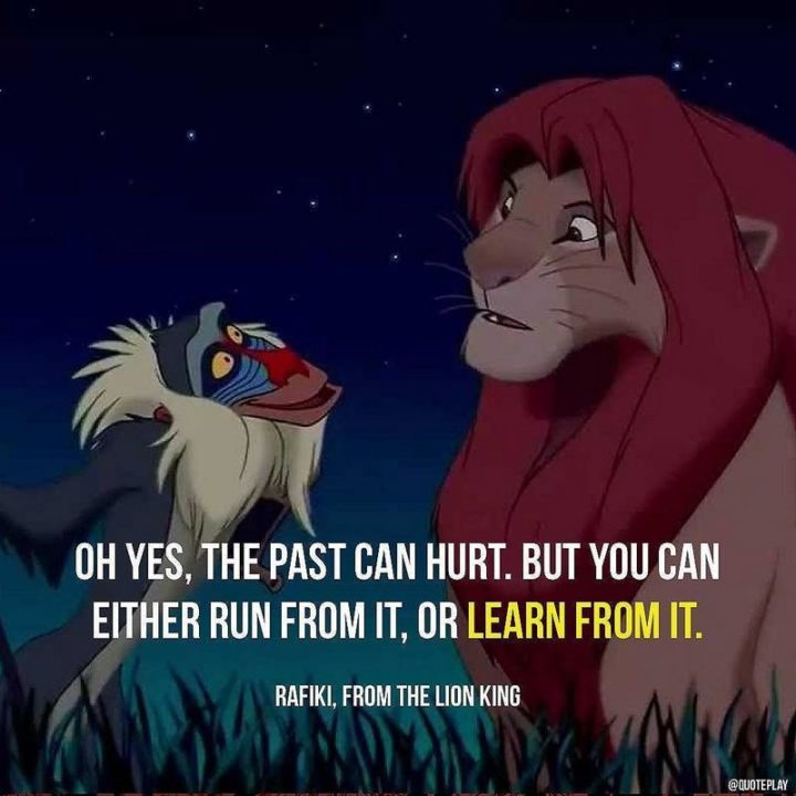 """47 """"Life is Beautiful"""" Quotes - """"Oh yes, the past can hurt. But you can either run from it or learn from it."""" - Rafiki, The Lion King"""