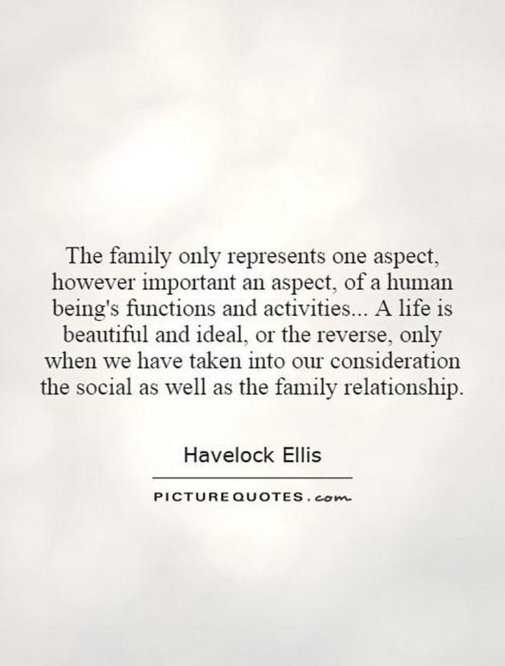 """47 """"Life is Beautiful"""" Quotes - """"The family only represents one aspect, however important an aspect, of a human being's functions and activities. A life is beautiful and ideal or the reverse, only when we have taken into our consideration the social as well as the family relationship."""" - Havelock Ellis"""