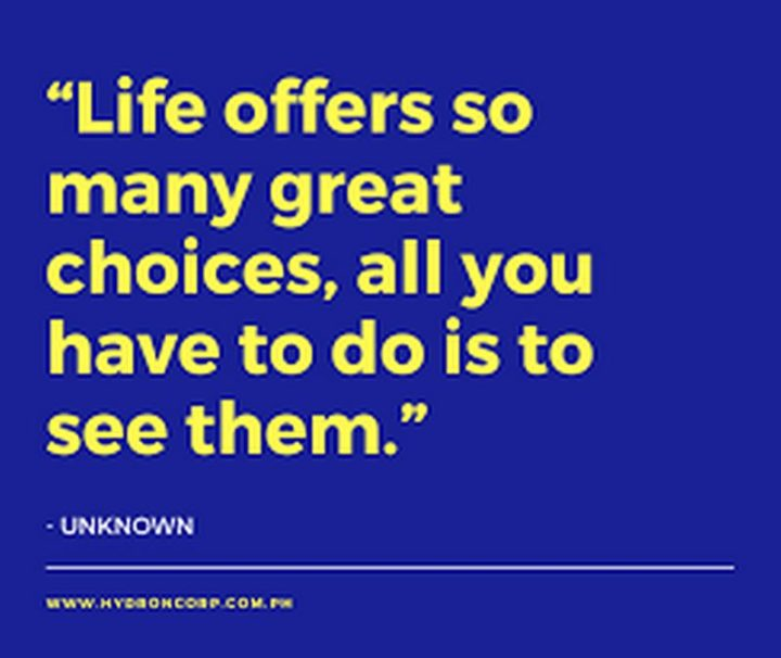 """Life offers so many great choices, all you have to do is to see them."" - Unknown"
