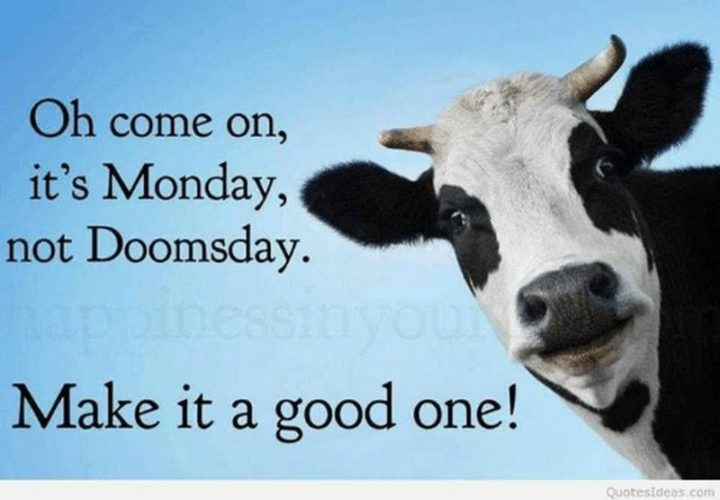 """Oh, come on. It's Monday, not doomsday. Make it a good one!"" - Unknown"