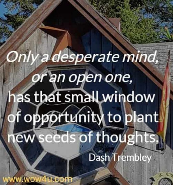 """Only a desperate mind, or an open one, has that small window of opportunity to plant new seeds of thoughts."" - Dash Trembley"