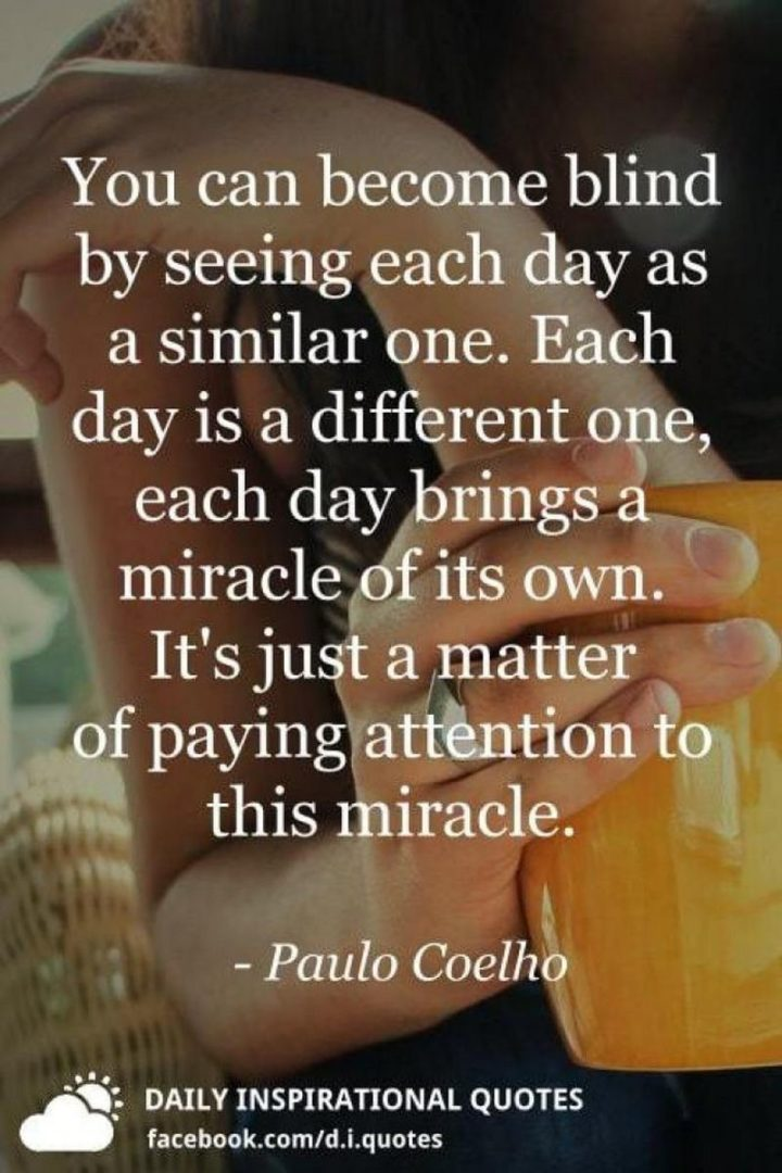 """You can become blind by seeing each day as a similar one. Each day is a different one, each day brings a miracle of its own. It's just a matter of paying attention to this miracle."" - Paolo Coehlo"