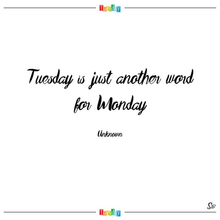 """55 Tuesday Quotes - """"Tuesday is just another word for Monday."""" - Unknown"""