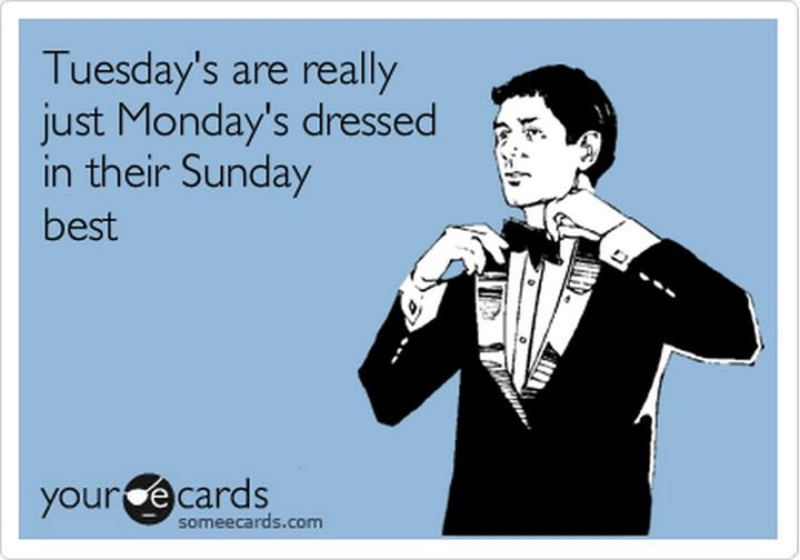 """55 Tuesday Quotes - """"Tuesday's are really just Monday's dressed in their Sunday best."""" - Unknown"""