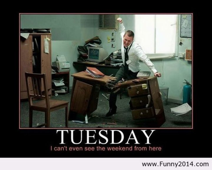 """55 Tuesday Quotes - """"Tuesday: I can't even see the weekend from here."""" - Unknown"""