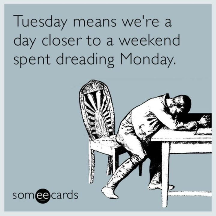 """55 Tuesday Quotes - """"Tuesday means we're a day closer to a weekend spent dreading Monday."""" - Unknown"""