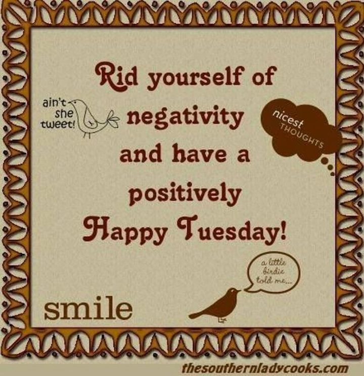 """55 Tuesday Quotes - """"Rid yourself of negativity and have a positively Happy Tuesday."""" - Unknown"""
