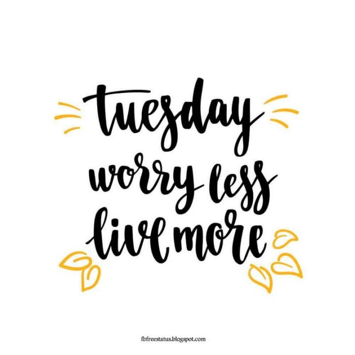 """55 Tuesday Quotes - """"Tuesday. Worry less. Live more."""" - Unknown"""