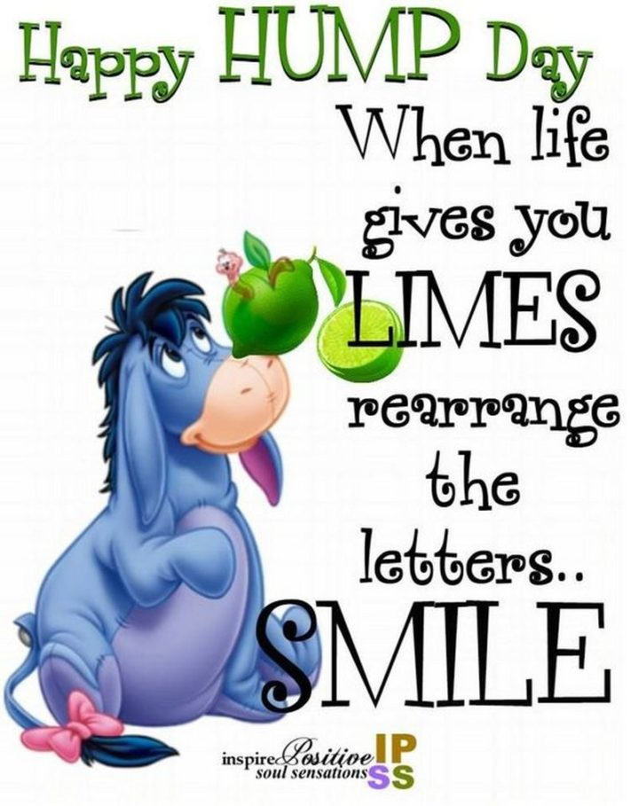 "65 Happy Wednesday Quotes - ""Happy Hump Day. When life gives you LIMES, rearrange the letters…SMILE."" - Unknown"
