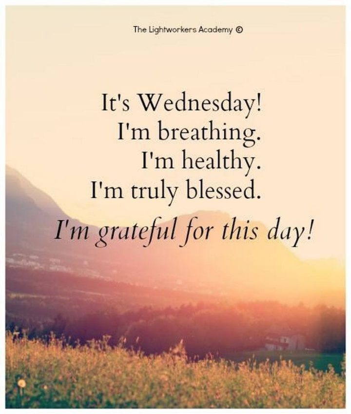 "65 Happy Wednesday Quotes - ""It's Wednesday! I'm breathing. I'm healthy. I'm truly blessed. I'm grateful for this day."" - Unknown"