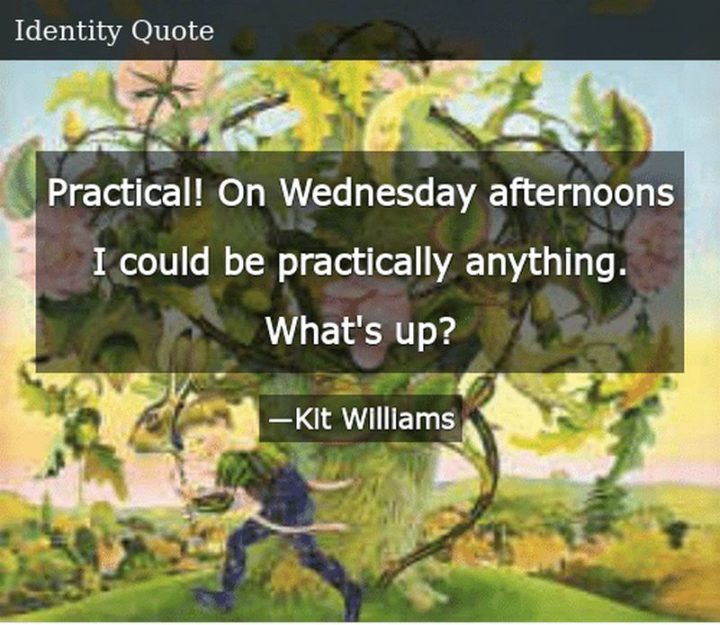 "65 Happy Wednesday Quotes - ""Practical! On Wednesday afternoons I could be practically anything. What's up."" - Kit Williams"