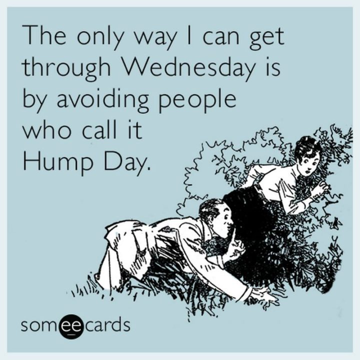 "65 Happy Wednesday Quotes - ""The only way I can get through Wednesday is by avoiding people who call it Hump Day."" - Unknown"